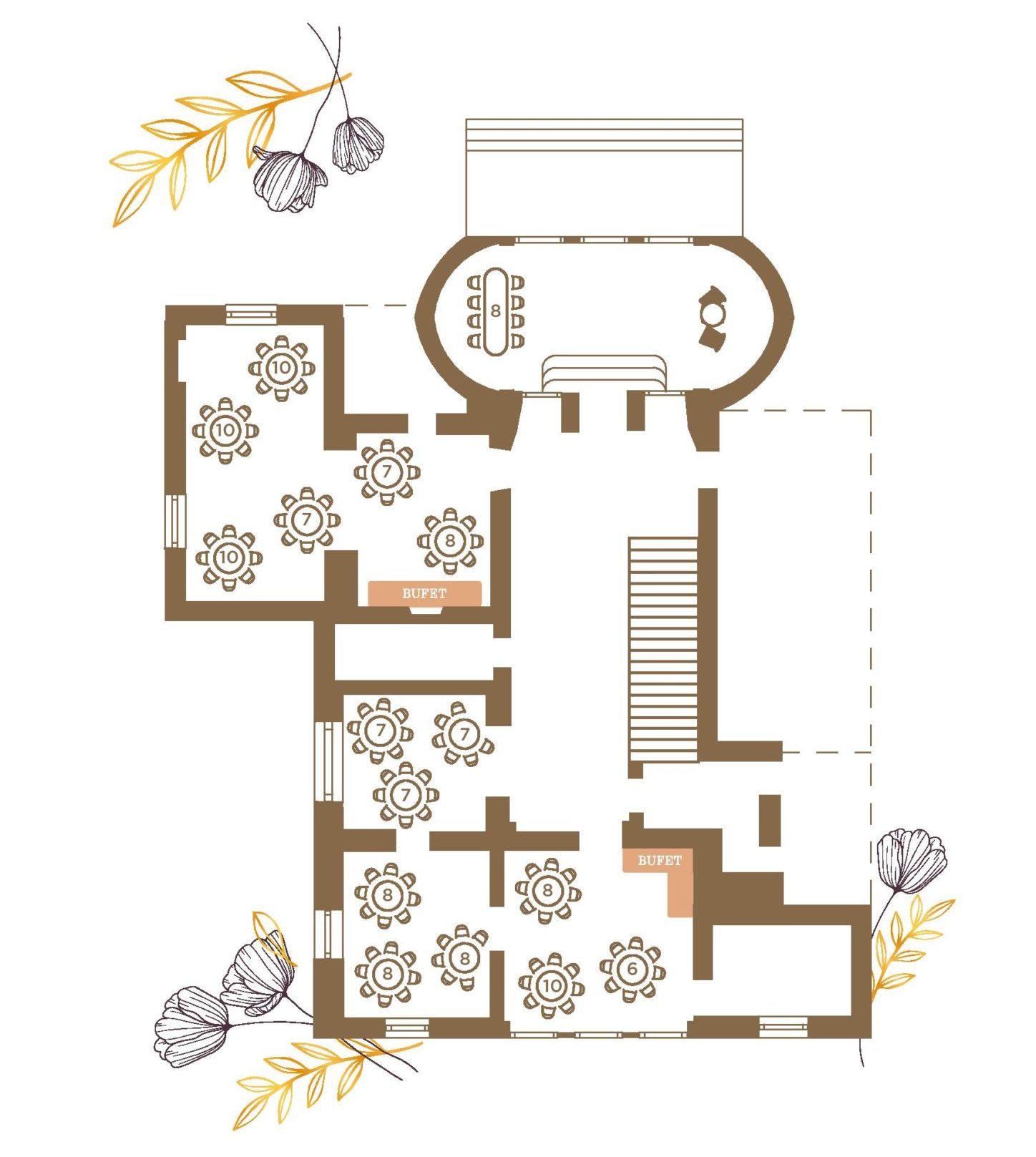 Plan sal w Pałacu Radziwiłłów w Balicach